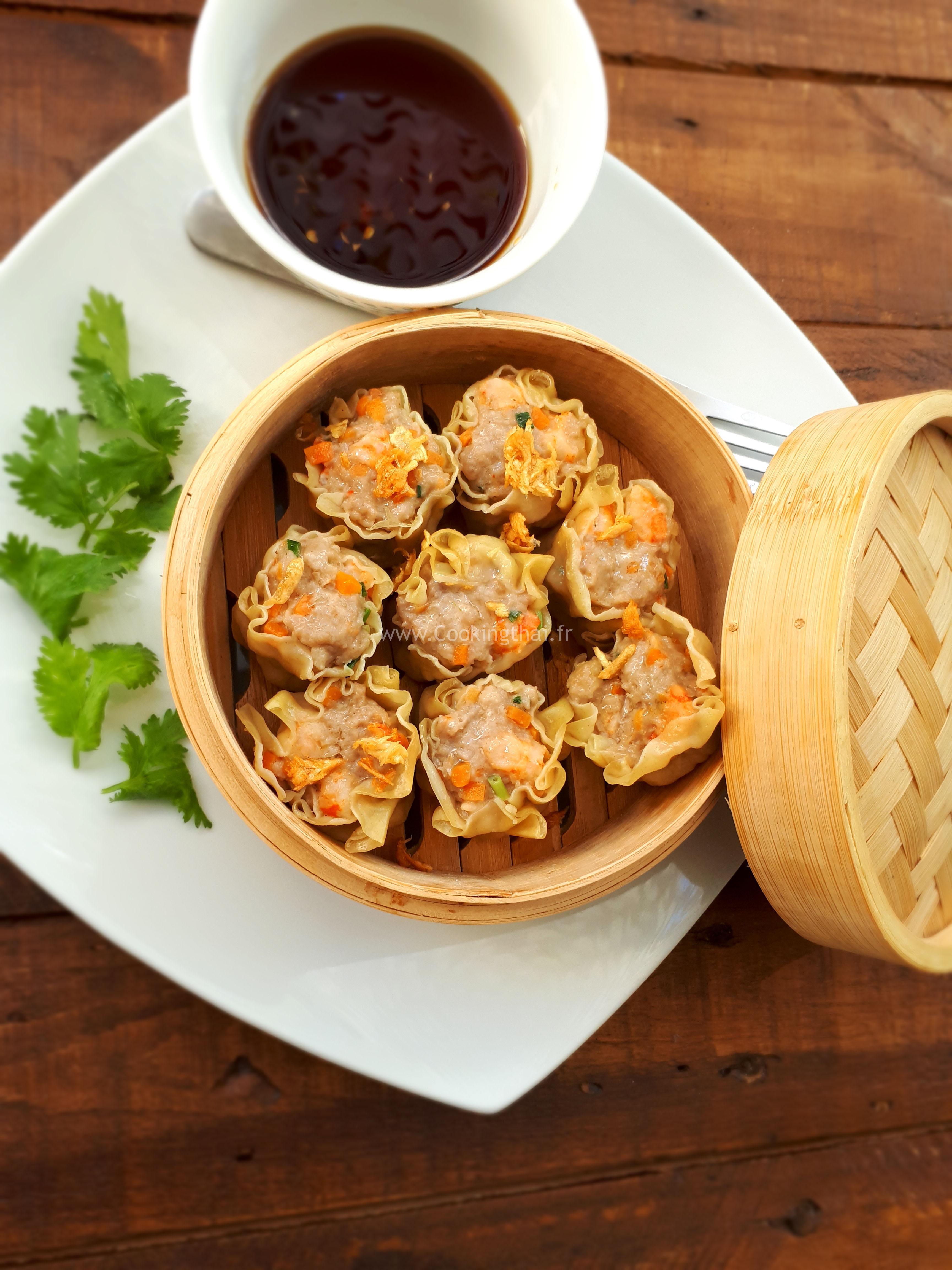 Raviolis de porc/crevette et sauce soja