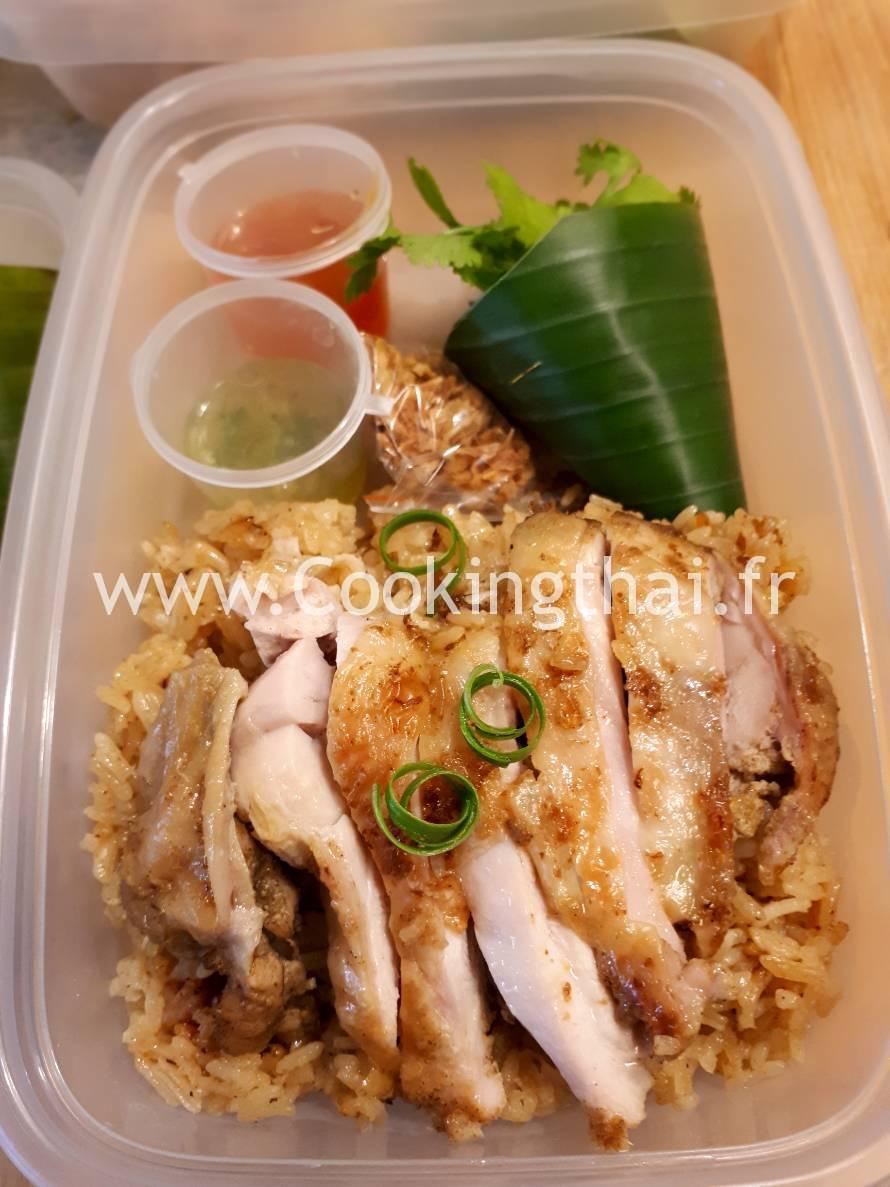 """La gamelle """"Poulet frit avec son riz curry jaune (style indien)"""""""